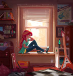ajvl bag blind book clock equestria_girls guitar headphones highres humanized lava_lamp poster sunset_shimmer window