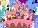 apple_bloom applejack big cake cheerilee cutie_mark_crusaders derpy_hooves fluttershy little lyra_heartstrings main_six minuette pembroke pinkie_pie princess_celestia princess_luna rainbow_dash rarity scootaloo spike sweetie_belle sweetie_drops the_great_and_powerful_trixie twilight_sparkle
