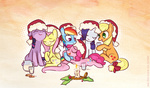 applejack candle christmas fluttershy hat i_shall_not_use_my_hooves_as_hands main_six milk naroclie pinkie_pie rainbow_dash rarity santa_hat twilight_sparkle
