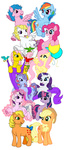 absurdres applejack applejack_(g1) bird dragonmasteralex firefly fluttershy g1 generation_leap highres magic main_six pinkie_pie posey rainbow_dash rarity sparkler surprise transparent twilight twilight_sparkle