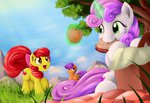 absurdres apple_bloom apples basket cutie_mark_crusaders grennadder highres magic picnic sandwich scootaloo sweetie_belle