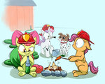 apple_bloom carrot cutie_mark_crusaders fire helmet highres hose paint rocket-lawnchair scootaloo sweetie_belle winona