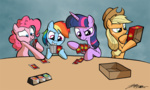 applejack apples_to_apples i_shall_not_use_my_hooves_as_hands pinkie_pie rainbow_dash twilight_sparkle willdrawforfood1
