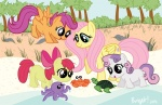 apple_bloom beach cephalopod crab cutie_mark_crusaders fluttershy octopus sakurakaijuu scootaloo sweetie_belle turtle