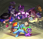 90s angel applejack apples audrarius book costume drums fluttershy hat highres magic main_six necklace opalescence owlowiscious pinkie_pie princess_twilight rainbow_dash rapper rarity spike stool twilight_sparkle uniform