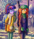 equestria_girls glove hat humanized jowybean scarf sunset_shimmer twilight_sparkle winter