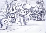apple_bloom cutie_mark_crusaders diamond_tiara highres ruhisu scootaloo silver_spoon sweetie_belle traditional_art