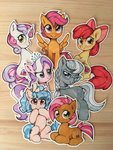 apple_bloom babs_seed cozy_glow cutie_mark_crusaders diamond_tiara highres scootaloo silver_spoon sweetie_belle traditional_art zoliklispp