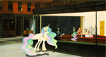 edward_hopper nighthawks parody pony_joe princess_celestia spike