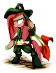 bipedal bottle costume gun hat highres pepooni pinkamena_diane_pie pinkie_pie tie weapon