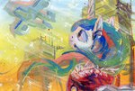 airplane highres painting princess_celestia sugarcube-owl