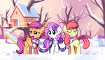 apple_bloom cutie_mark_crusaders karzahnii scarf scootaloo snow_pony sweetie_belle winter