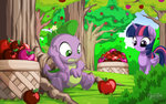 apples basket highres mysticalpha princess_twilight spike sweet_apple_acres trees twilight_sparkle
