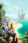 bag beach boat book cloud highres nemo2d original_character scroll sea ship tree