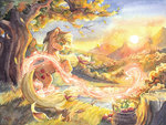 applejack apples autumn leaves scenery sunset the-wizard-of-art traditional_art tree