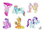 absurdres applejack butterfly cider cloud daring-do fluttershy highres jowybean magic main_six pinkie_pie plushie princess_twilight rainbow_dash rarity sleeping toy twilight_sparkle