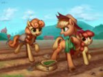 apple_bloom applejack big_macintosh golden_harvest highres luciferamon