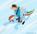 baseball_bat cap crossover dog_tag gonzahermeg headphones rainbow_dash scout team_fortress_2