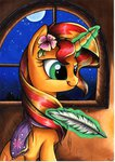 absurdres flowers highres magic mylittlesuki quill scarf shipping sunlight sunset_shimmer