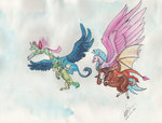 gallus ocellus sagastuff94 sandbar silverstream smolder traditional_art yona