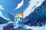 absurdres emeraldgalaxy flying highres rainbow_dash sea wave