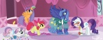apple_bloom cutie_mark_crusaders dress glasses princess_luna rarity sakurakaijuu scootaloo sweetie_belle