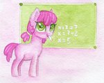 0okami-0ni blackboard chalk cheerilee filly highres traditional_art