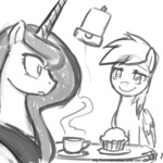 coffee derpy_hooves grayscale johnjoseco muffin princess_luna sketch
