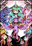 applejack elements_of_harmony fluttershy main_six pinkie_pie princess_cadance princess_celestia princess_luna princess_twilight rainbow_dash rarity shira-hedgie spike twilight_sparkle