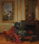 bra1neater clock couch highres painting princess_celestia princess_luna queen_chrysalis