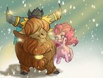drawingjules highres pinkie_pie prince_rutherford shipping snow yak