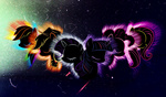 applejack fluttershy internationaltck pinkie_pie rainbow_dash rarity twilight_sparkle wallpaper white_on_black