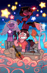 amethyst betweenfriends cloud couch garnet guitar highres nighttime pearl ponified steven_universe