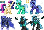 animated background_ponies icon lowres lyra_heartstrings pixel_art princess_luna queen_chrysalis renaturnip sweetie_drops woona young