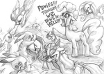 300 applejack axe crossover dagger flick-the-thief fluttershy helmet lineart main_six parody pinkie_pie pokemon rainbow_dash rarity twilight_sparkle violence weapon