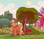 absurdres applejack apples docwario highres modularpon sweet_apple_acres tree
