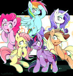 applejack fluttershy highres main_six pinkie_pie princess_twilight rainbow_dash rarity twilight_sparkle tyuubatu
