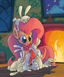 absurdres angel docwario fire fireplace fluttershy highres rabbit