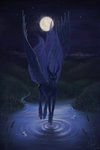 absurdres highres luvvandra moon nighttime princess_luna water
