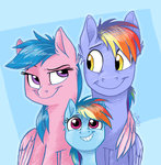 Post 65891, tags: filly, firefly, graystripe64, highres, parents, rainbow_dad, rainbow_dash, rating:Safe, score:24, user:Geomancing