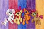 apple_bloom babs_seed cutie_mark_crusaders jenkiwi scootaloo sweetie_belle traditional_art