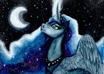 absurdres highres leafstormy moon princess_luna stars traditional_art