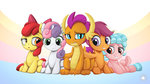 apple_bloom cozy_glow cutie_mark_crusaders highres mysticalpha scootaloo smolder sweetie_belle