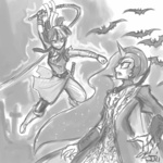 alucard bat castlevania crossover grayscale humanized johnjoseco nightmare_moon richter_belmont sketch twilight_sparkle weapon whip