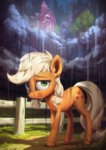applejack assasinmonkey cloud highres rain sweet_apple_acres tree