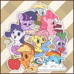 applejack apples assasinmonkey book cake chibi cloud derpy_hooves fluttershy main_six muffin pinkie_pie rainbow_dash rarity spike twilight_sparkle