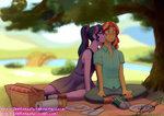equestria_girls feellikeaplat humanized kiss shipping sunlight sunset_shimmer twilight_sparkle