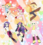 anime anime_as_fuck applejack fluttershy humanized idylliccommotion main_six panty_and_stocking_with_garterbelt pinkie_pie rainbow_dash rarity twilight_sparkle