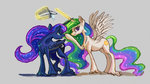 bucket highres magic plainoasis princess_celestia princess_luna water