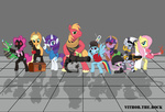 applejack cap crossover demoman engineer flamethrower fluttershy glasses gummy gun headphones heavy highres main_six medic minigun pinkie_pie pyro rainbow_dash rarity rifle scout sniper soldier spike spy team_fortress_2 twilight_sparkle vector vithortherock weapon wrench zecora